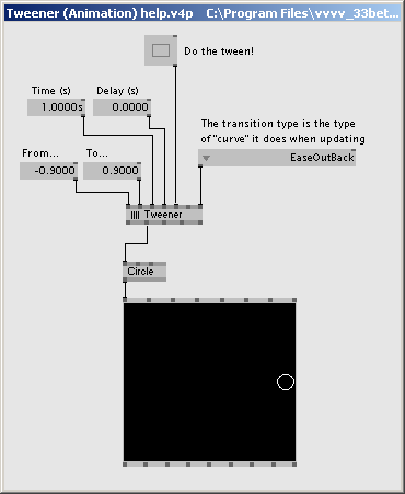 A patch in vvvv using Tweener